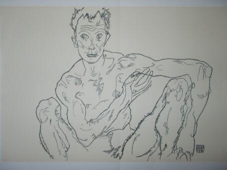 Lithograph Schiele - Male nude