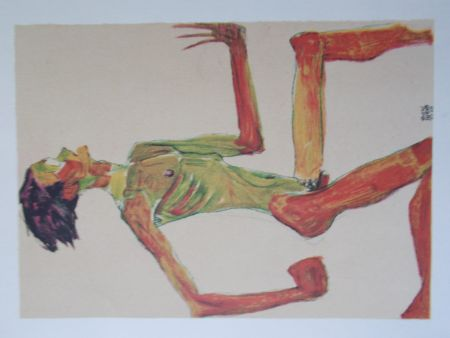 Lithograph Schiele - Male nude in profil