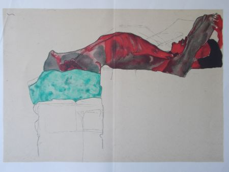 Lithograph Schiele - Male nude with green cloth