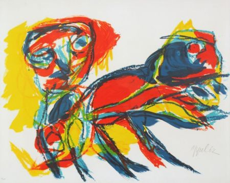 Lithograph Appel - Man and Red Beast