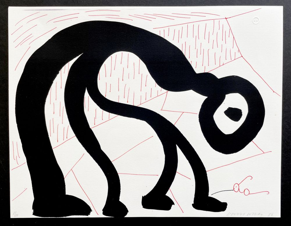 No Technical Hockney - Man Looking for his glasses, April 1986