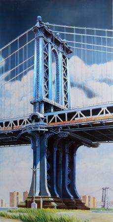Lithograph Haas - Manhattan Bridge