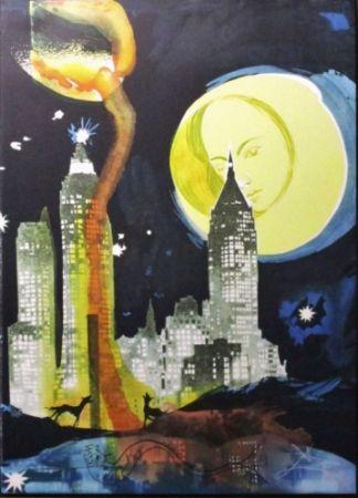 Lithograph Dali - Manhattan Skyline, Tarot The Moon