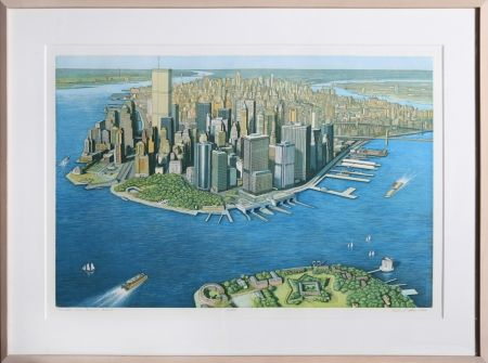 Etching And Aquatint Haas - Manhattan View from Governor's Island (Color)
