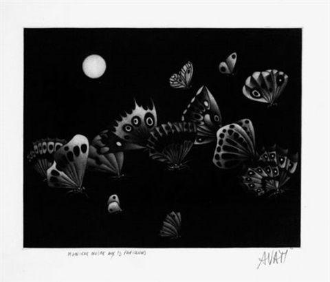 Mezzotint Avati - Manière noire au 13 papillons (1964)
