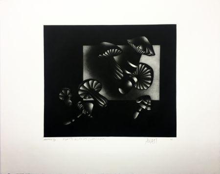 Mezzotint Avati - Manière noire aux champignons (1964)