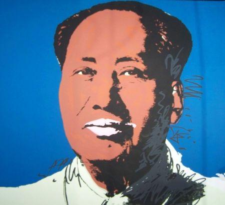 Screenprint Warhol - Mao bleu marron