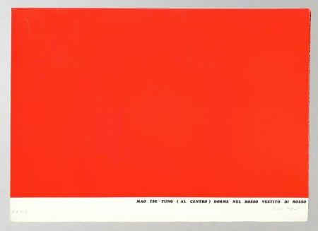 Screenprint Isgro - Mao Tse-Tung (al centro) dorme nel rosso vestito di rosso