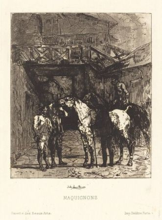 Etching And Aquatint Lewis-Brown - Maquignons / Horse Dealers