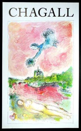 Poster Chagall - Marc Chagall - Vue Sur Notre Dame. Cartel Exposicion 79 X 48 Cm