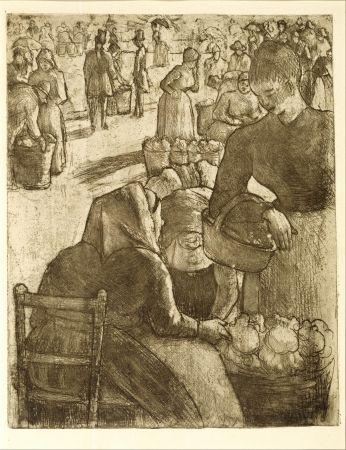 Etching Pissarro - Marché aux légumes, à Pontoise