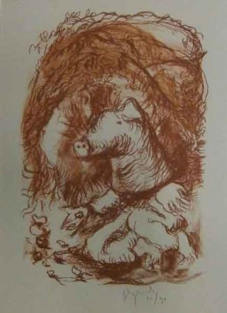 Lithograph Garouste - Marché de la truffe