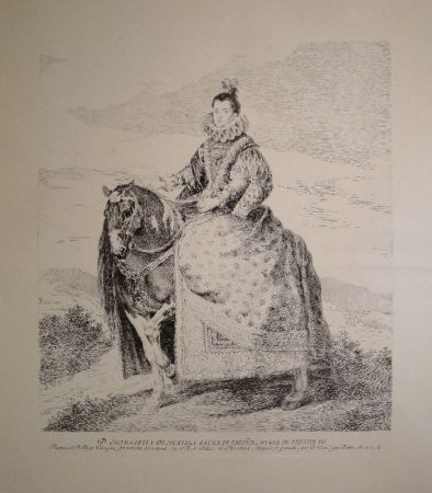 Engraving Goya - Margarita de Austria Reyna de Espagna, Muger de Phelipe III