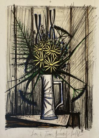 Lithograph Buffet - Marguerites et Iris