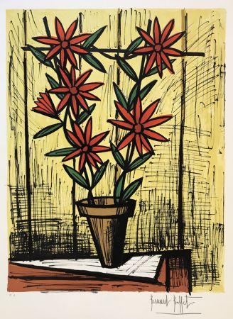 Lithograph Buffet - Marguerites rouges (Red Daisies)