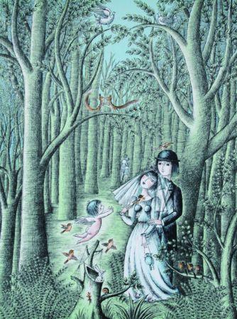 Lithograph Peynet - Mariage dans le foret