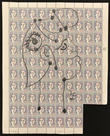 No Technical Cocteau - Marianne sur une planche de 96 timbres de la Marianne de Cocteau (Marianne on a plate of 96 stamps of Marianne de Cocteau)
