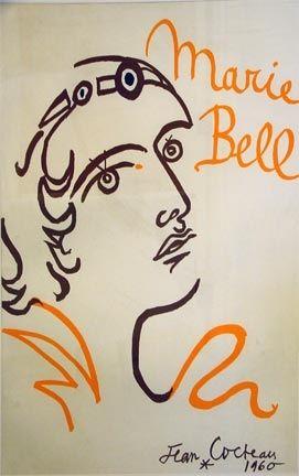 Lithograph Cocteau - Marie Bell