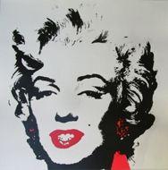 Screenprint Warhol - Marilyn golden red gloss