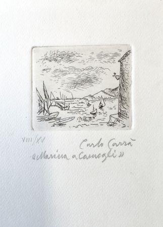Engraving Carra - Marina a Camogli