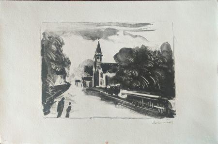 Lithograph Vlaminck - Marine, l'église