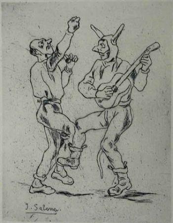 Engraving Gutiérrez Solana  - Mascaras bailando con guitarra