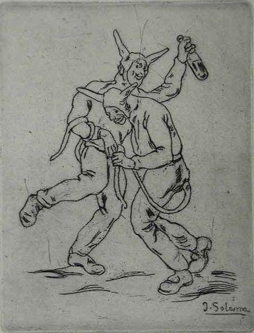 Engraving Gutiérrez Solana  - Mascaras diablos bailando