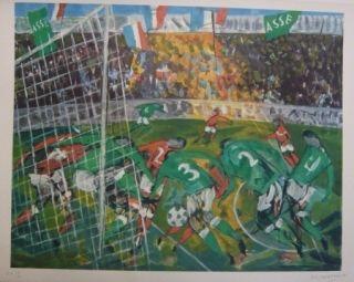 Lithograph Bertholle - Match de football