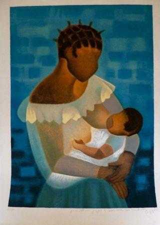 Lithograph Toffoli - Maternité