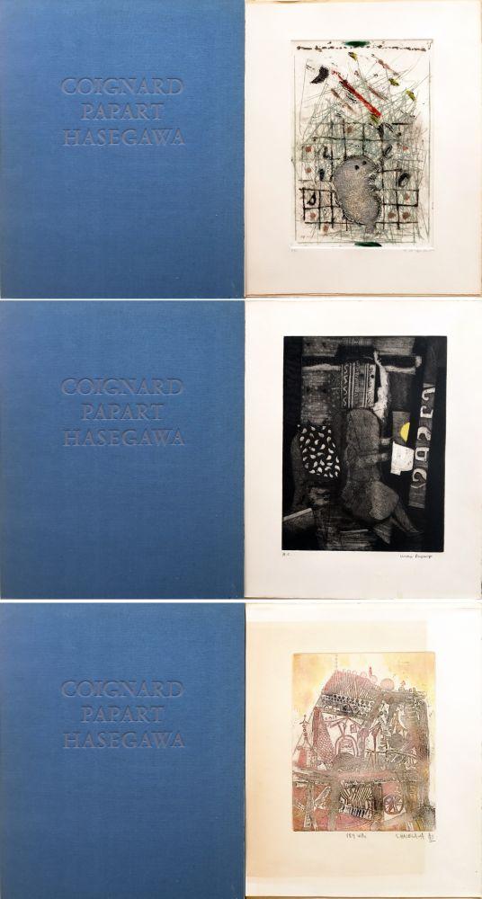 Etching And Aquatint Papart - MAX PAPART - JAMES COIGNARD - SHOICHI HASEGAWA : HOMME DANS LA VILLE. 3 GRAVURES ORIGINALES