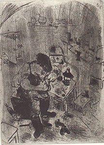 Engraving Chagall - Maxime Teliatnikov, Savetier