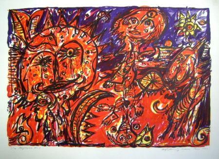 Lithograph Pedersen - Mayalegende Nr 1