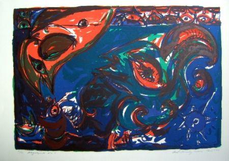 Lithograph Pedersen - Mayalegende Nr 5