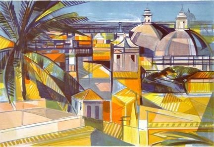 Lithograph Hilaire - Mediterranean Rooftops