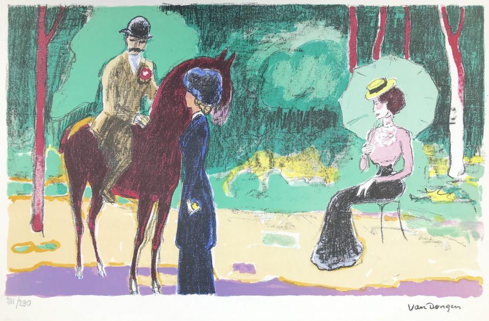 Lithograph Van Dongen - Meeting in the woods