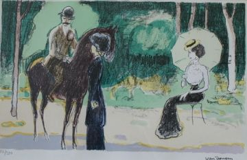 Lithograph Van Dongen - Meeting in the woods