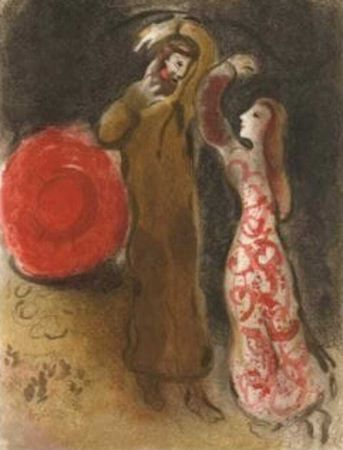 Lithograph Chagall - Meeting of Ruth and Boaz M.247