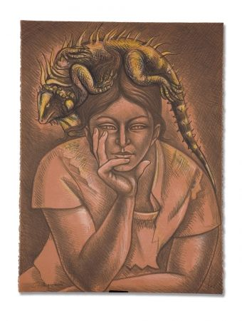 Lithograph Anguiano - Melancholy