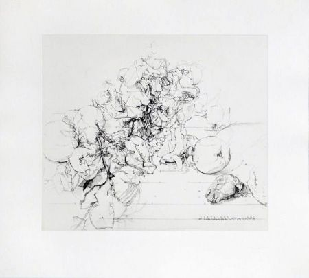 Etching And Aquatint Lopez - Membrillos, granadas y cabeza de conejo