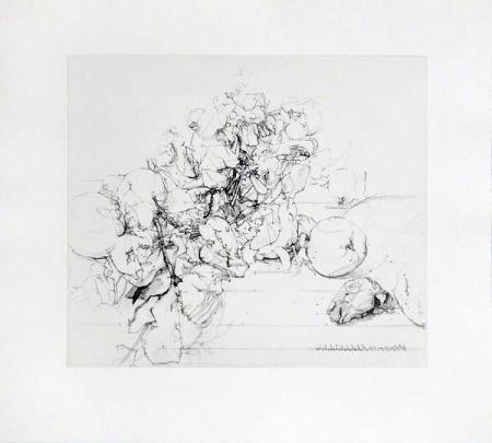 Etching And Aquatint López Garcia - Membrillos, granadas y cabeza de conejo