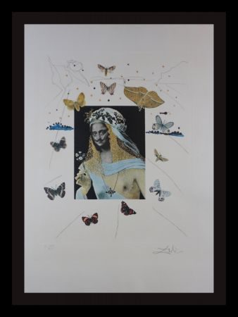 Etching Dali - Memories of Surrealism Surrealiste Portrait of Dali Surrounded by Butterflies
