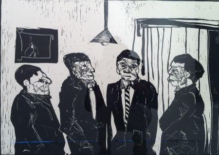 Linocut Nhlengethwa - Men in Black