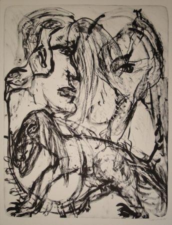 Lithograph Disler - Mensch und Tier