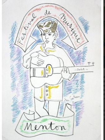 Lithograph Cocteau - MENTON FESTIVAL DE MUSIQUE