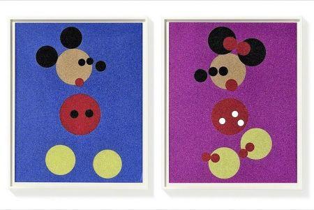 Screenprint Hirst - Mickey (Blue Glitter) & Minnie (Pink Glitter)
