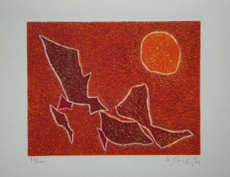 Etching And Aquatint Singier - Migration Solaire