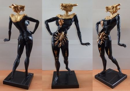 Multiple Dali - Minotaur with golden head (tall model)