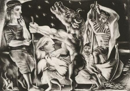 Mezzotint Picasso - Minotaure aveugle guidé par Marie-Thérèse au pigeon dans une nuit étoilée (Blind Minotaur Guided Through a Starry Night by Marie-Thérèse with a Pigeon)