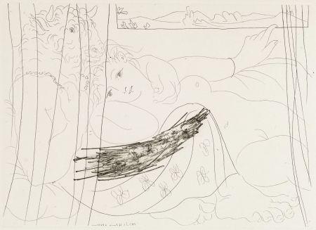 Engraving Picasso - Minotaure et femme derriere un rideu