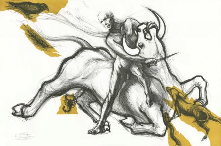 Lithograph Pignon-Ernest - Mithra